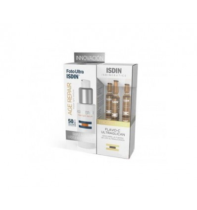 PACK FOTO ULTRA ISDIN AGE REPAIR SPF50+ 50ml + AMPOLLAS FLAVO-C ULTRAGLICANS 3u