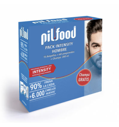 PACK PILFOOD INTENSITY HOMBRE 15 AMPOLLAS + 60 COMPRIMIDOS + CHAMPU 200ml