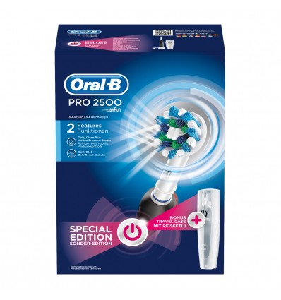 CEPILLO DENTAL ELECTRICO ORAL-B PRO 2 2500 CROSSACTION NEGRO + ESTUCHE DE VIAJE