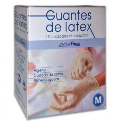 GUANTES DE LATEX MEDI FLOWER TALLA MEDIANA 10u